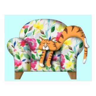 Cartoon Kitty asleep on a floral chair Postcard