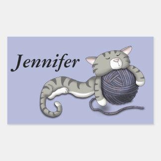 Cartoon Kitty with ball of yarn Rectangular Sticker
