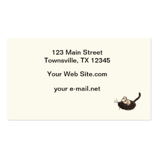 Cartoon Kitty with toy mouse Business Card Template