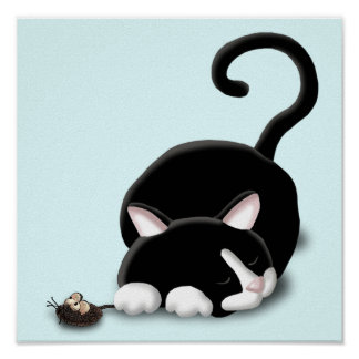 Cartoon Kitty with toy mouse Poster