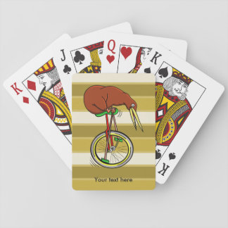 Cartoon Kiwi Bird Unicyling Playing Cards