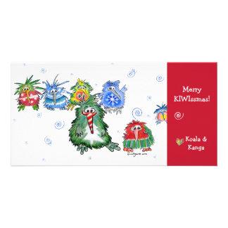 Cartoon Kiwi Merry Christmas Card Photo Greeting Card