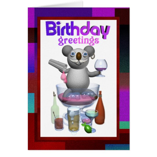Cartoon Koala Birthday Bartender blank inside Card