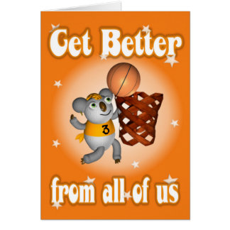 Cartoon Koala Playing Basketball Get well card