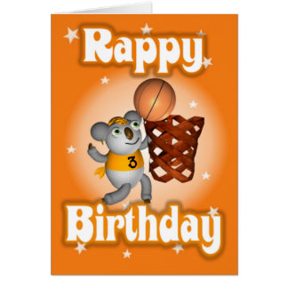 Cartoon Koala Playing Basketball Happy Birthday Greeting Card