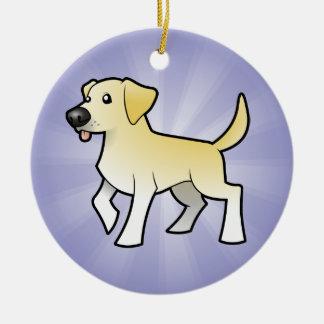 Cartoon Labrador Retriever (add your message) Round Ceramic Decoration