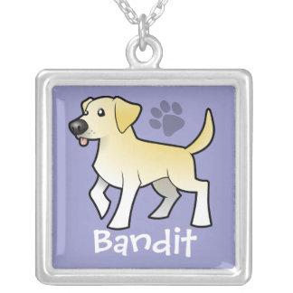 Cartoon Labrador Retriever (add your pets name) Silver Plated Necklace