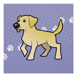 Cartoon Labrador Retriever Poster