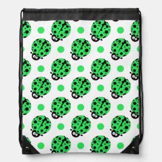 Cartoon Ladybug, Neon Green & White Polka Dots Backpack