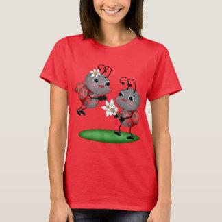 Cartoon ladybug womens fun insect t-shirt
