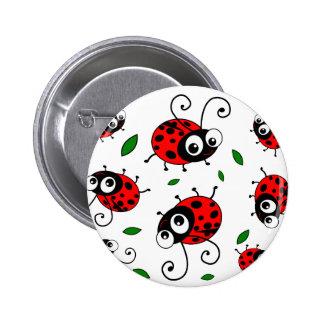 Cartoon ladybugs pattern 6 cm round badge