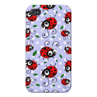 Cartoon ladybugs pattern cover for iPhone 4