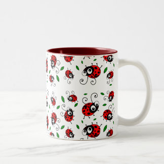 Cartoon ladybugs pattern Two-Tone coffee mug