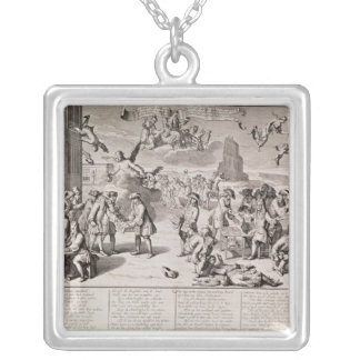 Cartoon lampooning the disastrous experiment silver plated necklace