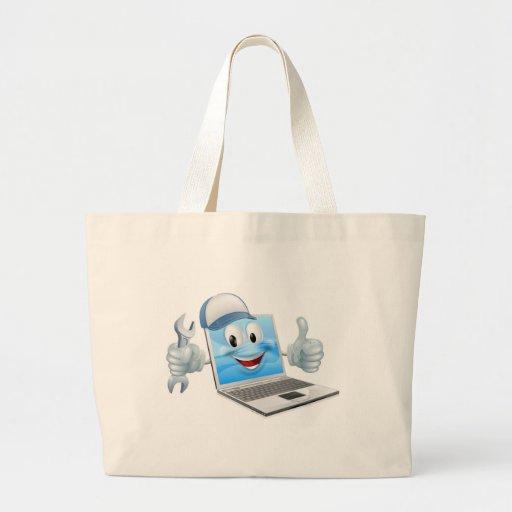 Cartoon laptop computer repair mascot tote bag