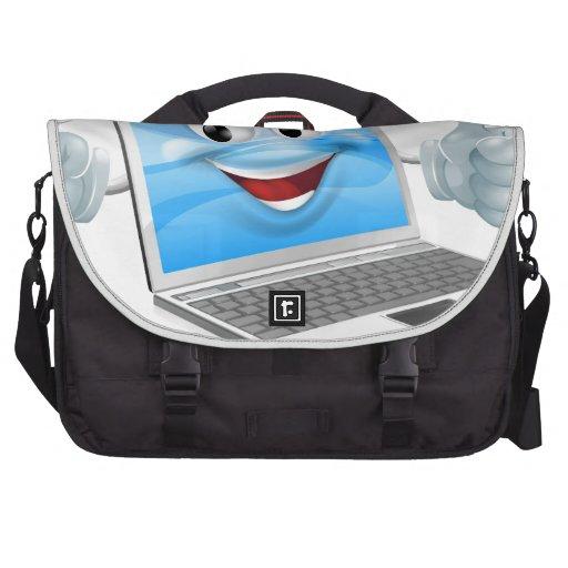 Cartoon laptop computer repair mascot computer bag