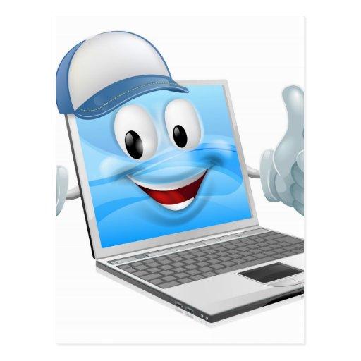 Cartoon laptop computer repair mascot postcards
