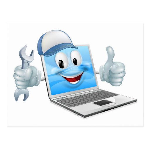 Cartoon laptop computer repair mascot post card