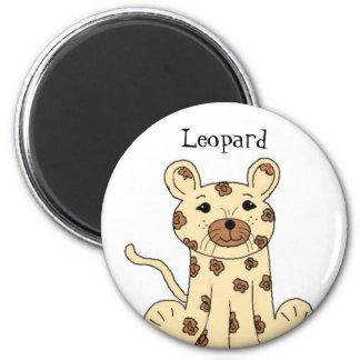 Cartoon Leopard 6 Cm Round Magnet