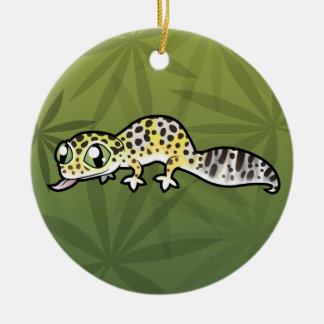 Cartoon Leopard Gecko (add your own message) Christmas Ornament