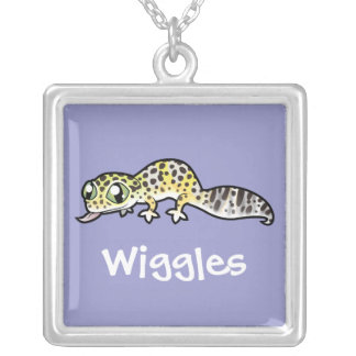 Cartoon Leopard Gecko (add your pets name) Silver Plated Necklace