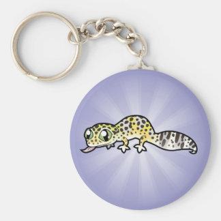 Cartoon Leopard Gecko Basic Round Button Key Ring