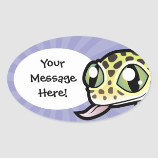 Cartoon Leopard Gecko Oval Sticker