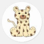Cartoon Leopard Round Sticker