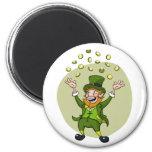 Cartoon Leprechaun 6 Cm Round Magnet