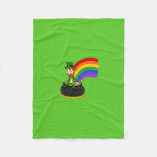 Cartoon leprechaun sitting on a pot of gold fleece blanket