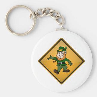 Cartoon Leprechaun Warning Sign Basic Round Button Key Ring