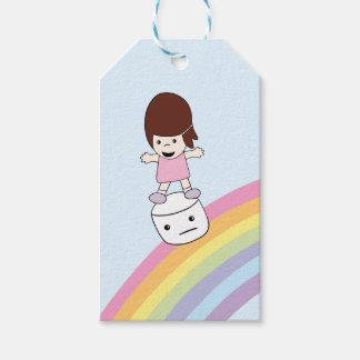 Cartoon. Lesley on Rainbow w Marshmallow Gift Tag