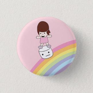 Cartoon Lesley Surfs Rainbow w Marshmallow Button