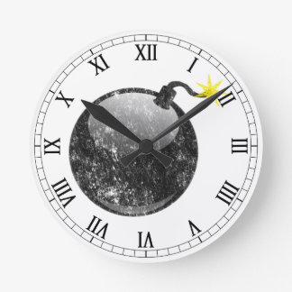 Cartoon Letterpress Style Bomb Round Clock