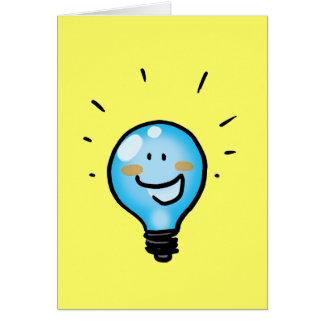 Cartoon light bulb character card