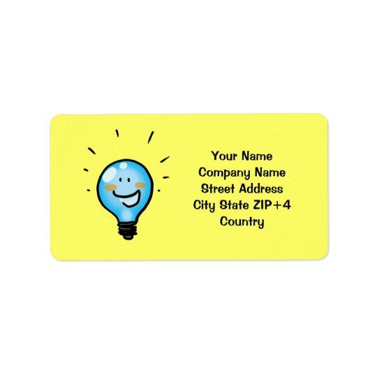 Cartoon light bulb character label