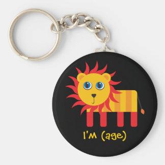 Cartoon Lion Birthday & Age Key Chains