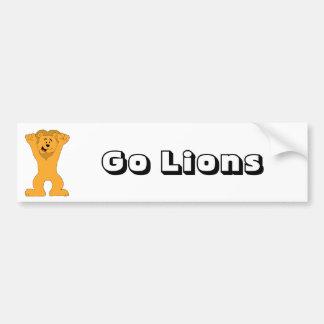 Cartoon Lion Fan Cheering Car Bumper Sticker