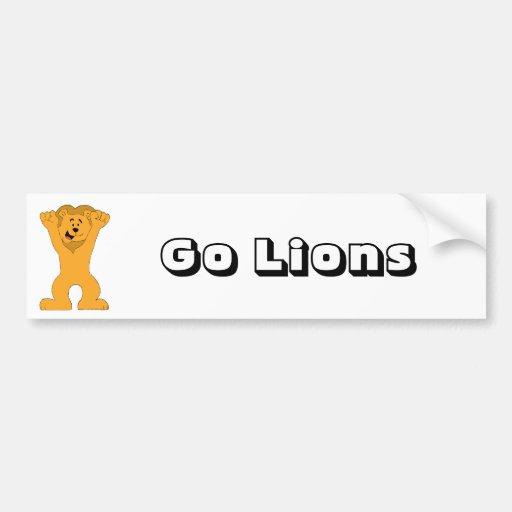 Cartoon Lion Fan Cheering Bumper Sticker