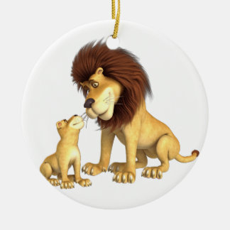 Cartoon Lion Father & Son Christmas Ornament