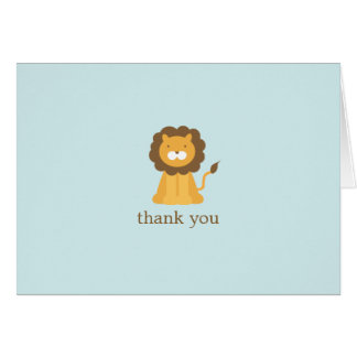 Cartoon Lion Folded Thank You Notes Card