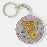Cartoon Lion Hearts Colour/Text Custom Keychains