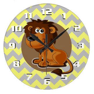 Cartoon Lion on Chevron Pattern Cute Nursery Large Clock