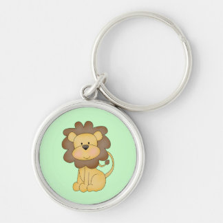 Cartoon Lion Silver-Colored Round Key Ring