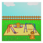 Cartoon Lion & Tiger in a Playground from $12.80 Posters