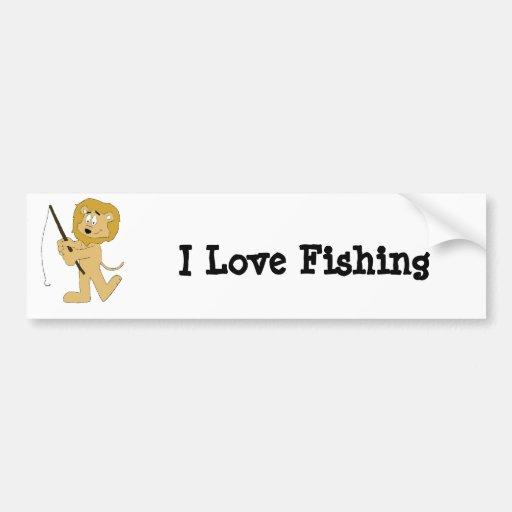 Cartoon Lion With A Fishing Pole Bumper Sticker