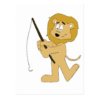 Cartoon Lion With A Fishing Pole Postcards
