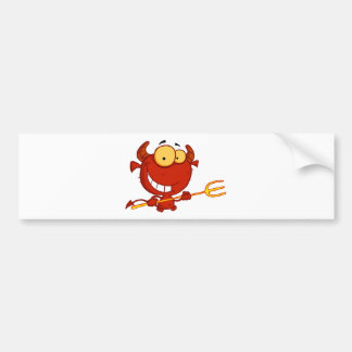 Cartoon Little Devil With Pitchfork Bumper Sticker