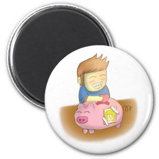 cartoon, love piggy bank 6 cm round magnet