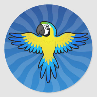 Cartoon Macaw / Parrot Classic Round Sticker